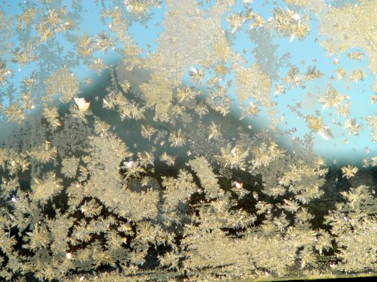 Ice crystals on the inside of the car