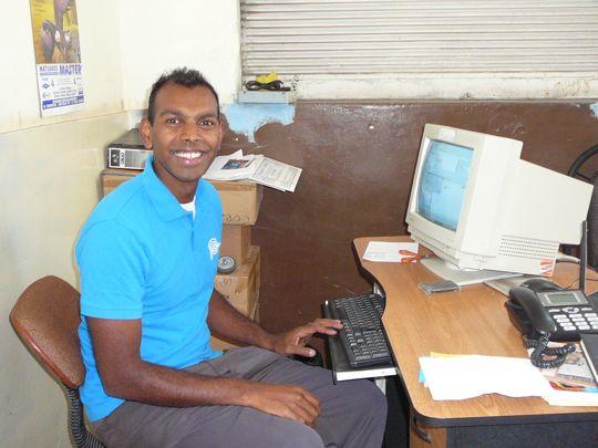 David at the computer