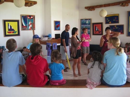 A team from Christ Community Church leading the children's program