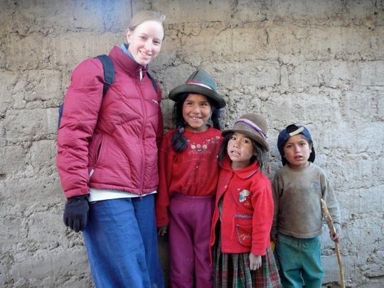 Christine in Peruvian village